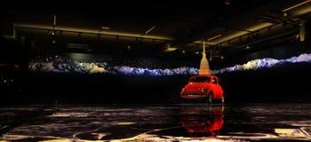Fiat 500 Uitstekende auto Royalty-vrije Stock Foto's