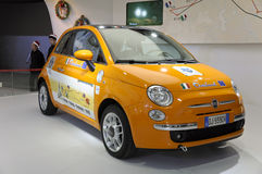 FIAT500. Italy mini car FIAT500 in its exhibition hall,in 2010 international Auto-show GuangZhou. it is from 20/12/2010 to 27/12/2010. photo taken on 25 Dec Stock Images