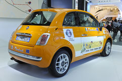 FIAT500. Italy mini car FIAT500 in its exhibition hall,in 2010 international Auto-show GuangZhou. it is from 20/12/2010 to 27/12/2010. photo taken on 25 Dec Stock Photos