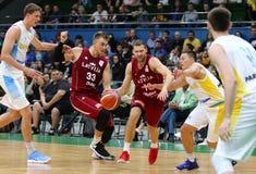 FIBA世界杯2019个合格者:乌克兰v拉脱维亚在Kyiv 库存照片