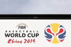 FIBA词杯子在墙壁上的中国2019广告在FIBA在米村,瑞士总部设 免版税库存图片