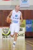 [FIBA Eurochallenge] BC Mures - Szolnoki Olaj. Ivan Ivanovic drives the ball  in the first leg of Group H's 2013/2014 FIBA Euro Challenge cup game between BC Stock Photos