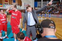 [FIBA Eurochallenge] BC Mures - Szolnoki Olaj. Szolnoki Olaj KK Head Coach Nedeljko Asceric reacts during a timeout in the first leg of Group H's 2013/2014 FIBA stock images