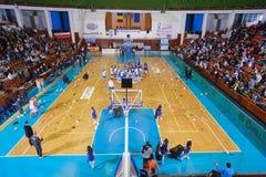 FIBA EuroChallenge:: BC Mures versus Rilski Sportist Stock Afbeeldingen
