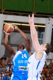 FIBA EuroChallenge:: BC Mures versus Rilski Sportist Stock Foto's