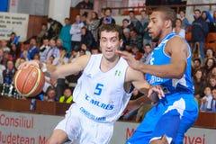 FIBA EuroChallenge:: BC Mures versus Rilski Sportist Stock Afbeelding