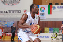 FIBA EuroChallenge :: BC Mures vs Rilski Sportist. Denham Brown prepares to shoot the ball in the FIBA EuroChallenge game between BC Mures from Romania and stock photography