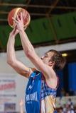 FIBA EuroChallenge :: BC Mures vs Tsmoki Minsk. Branko Mirkovic shoots the ball in the FIBA Eurochallenge game between BC Mures and Tsmoki Minsk played at City Royalty Free Stock Image