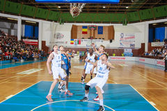 FIBA EuroChallenge :: BC Mures vs Tsmoki Minsk. Two points are scored by the Belarus team in the FIBA Eurochallenge game between BC Mures and Tsmoki Minsk played Royalty Free Stock Images