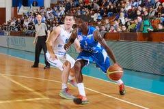 FIBA EuroChallenge:: A.C. Mures contra Rilski Sportist Fotografía de archivo libre de regalías