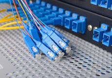Fiber cable serve with technology style against fiber optic Stock Images