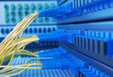 Fiber cable serve with technology style against fiber optic Royalty Free Stock Photos