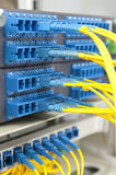Fiber cables. Connected to servers in a datacenter Stock Image