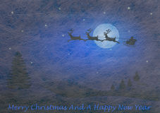 Fiber fabric and glitter film and reindeer and sled, christmas card. Grey fiber fabric and blue glitter film and reindeer and sled and the words Merry Christmas Royalty Free Stock Photography