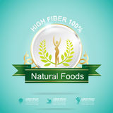 Fiber in Foods Slim Shape and Vitamin Concept Label Vector Stock Image