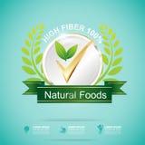 Fiber in Foods Slim Shape and Vitamin Concept Label Vector Stock Photo