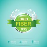 Fiber in Foods Slim Shape and Vitamin Concept Label Vector Stock Photo