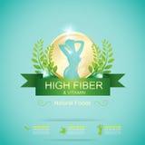 Fiber in Foods Slim Shape and Vitamin Concept Label Vector. Gradient Color stock illustration