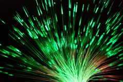 Fiber light in green and red Stock Photos