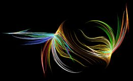 Fiber Neon Abstract. Neon fiber color range abstract, horizontal, over black background Royalty Free Stock Photo