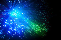 Fiber optic. Blue and green fiber optic cables Royalty Free Stock Photos