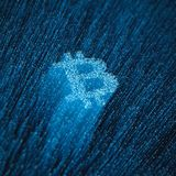 Fiber-optic bitcoin concept. 3D illustration of glowing optical fibres forming bitcoin currency symbol Stock Image