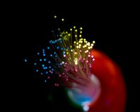 Fiber Optic Bundle. Bundle of optical fibers lit by multi-coloured lights; selective focus on fiber ends; isolated on black stock image