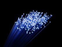 Fiber optic cabel bunch glowing. On black background. 3d rendering illustration Royalty Free Stock Photography
