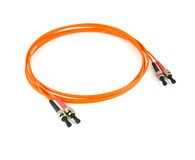 Fiber optic cable. Orange fiber optic cable with connectors Stock Images