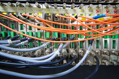 Fiber optic cable with cctv module Stock Images