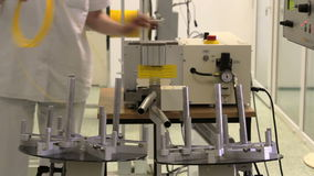 Fiber optic cable cutting machine stock video