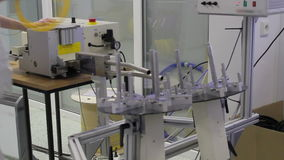 Fiber optic cable cutting machine stock video footage