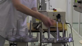 Fiber optic cable cutting machine stock footage