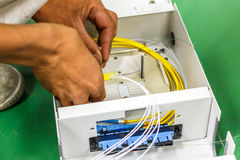 Fiber optic cable install Stock Photography
