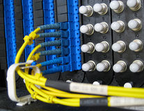 Fiber Optic Cable Network. Single Mode fiber optic cable network patch panel connections Stock Photography