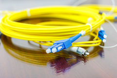 Fiber optic cable for network system Stock Images