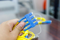 Fiber optic cable for network system Royalty Free Stock Photography