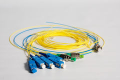 Fiber optic cable pigtails Stock Images