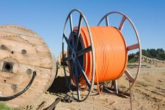 Fiber optic cable roll for broadband internet Stock Photos