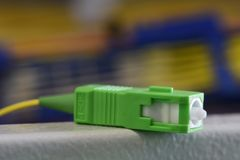 Fiber optic cable with SC plug. Close up stock image