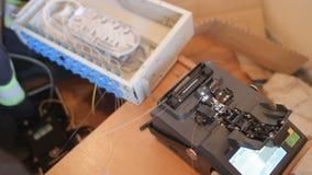 Fiber optic cable splice machine stock video footage