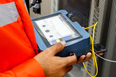 Fiber optic cable testing Stock Images