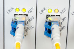 Fiber Optic cables connected to an optic ports Royalty Free Stock Photos