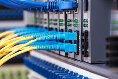 Fiber Optic cables connected to an optic ports Stock Photos