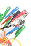 Fiber optic cables and connectors of telecommunication networks Stock Photo