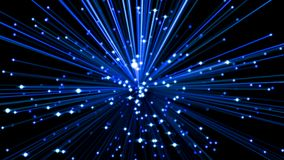Fiber optic cables. 3d illustration. Glowing blue fiber optic cables in dark. 3d illustration Stock Photo