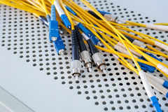 Fiber optic cables in data center Stock Image