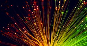 Fiber optic cables. On black background Royalty Free Stock Image