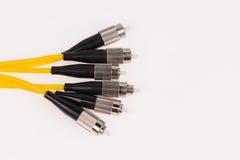 Fiber optic cables on grey background. Fiber optic cables isolated on grey background Stock Photo