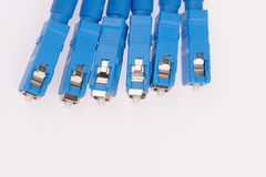 Fiber optic cables. Isolated on grey background Stock Image